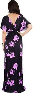 KOH KOH Womens Long Kimono Short Sleeve Floral Summer V-Neck Flowy Maxi Dress