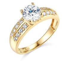 2.15 Ct Round Engagement Wedding Ring Real 14K Yellow Gold Diamond Simulation