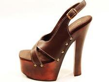 Soca High Heel Wood Platform Slingback Sandals Brown Leather Uppers