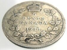 1911 Canada 5 Cent Small Silver KM16 Circulated Canadian George V Coin T194