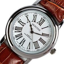 Montine Classic Mens Brown Leather Strap Cheap Wrist Watch