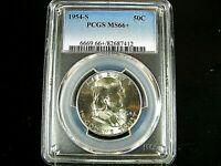 1954 S  Silver Franklin Half Dollar PCGS Ms 66 + (plus)  Nice Clean Coin