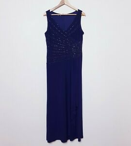 Laura K NWT RRP$270 Womens Size 16 Purple Beaded Detailing Evening Gown Dress