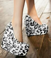 High (3 in. to 4.5 in.) Wedge Leopard Heels for Women