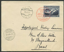 LIECHTENSTEIN, ZEPPELIN SET ON CARD AND COVER VFU USED