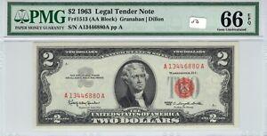1963 $2 Federal Reserve Note PMG Superb Gem UNC 66 EPQ FR# 1513 AA Block