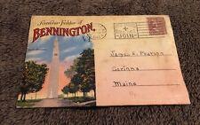 Vintage Postcard Folder Posted 1947 Bennington Vt Vermont