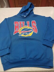 Vintage Buffalo Bills Logo Hoodie L NFL 90s  Trench AFC Champs USA 50/50 Read
