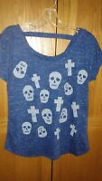 Circles and Cycles Skull and Cross Blue Shirt Size Small