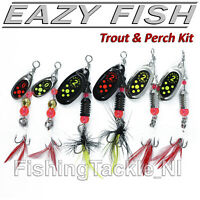Dennett Eazy Fish Trout & Perch Kit  - 6 Pack Black Fury Style Spinner Lures