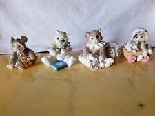 4 Enesco Calico Kittens Friendship Love Heart Cat by Priscilla Hillman Lot