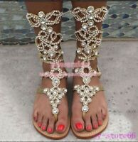 Womens RHINESTONES Glitter Sandals Roma Gladiator Flip Flops Strappy Flat Shoes