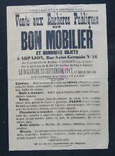 Affiche originale 1917 VENTE AUX ENCHERES PUBLIQUES ARPAJON Seine-et-Oise