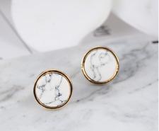 Fashion white marble geometric gold stone round stud earrings gift UK seller