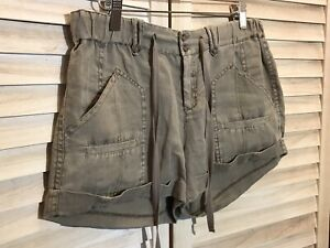 Joie 100% Linen Elastic Sided Button Front Shorts Size 2