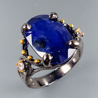 Handmade Jewelry Natural Blue Sapphire 925 Sterling Silver Ring Size 7.5/R114725