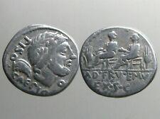 CALPURNIA 5 SILVER DENARIUS_____Roman Republic_____TWO QUAESTERS SEATED ON BENCH