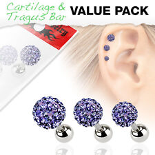 3 Pc Purple Ferido Ball Surgical Steel Helix Tragus Cartilage Barbell Earring