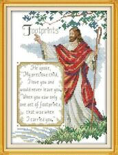 BNIP Christian Jesus Footprints Cross Stitch Kit 14 ct 21 x 30cm (E)
