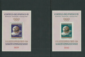 PARAGUAY 1964 TOKYO OLYMPICS SPACE TELSTAR theme 2 sheets PERF/IMPERF VF MNH