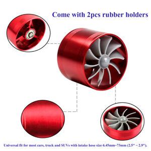 "Universal Turbine Air Intake Fuel Gas Saver Single Fan System Turbo 2.5-2.9"" Red"