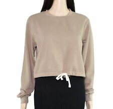 American Apparel Womens Sweatshirt Brown Size Small S Drawstring Crop $42 862