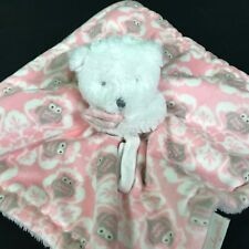 54b4cdfd83 Blankets   Beyond Lovey Plush White Bear Pink Owl Print Baby Security  Blanket