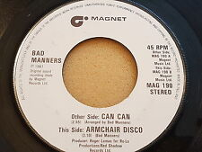 """Bad Manners, Can Can, Armchair Disco, 1981, MAG 190, Vinyl, 7"""", 45 RPM  EX+"""