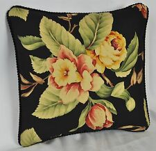 Square Pillow made with Ralph Lauren Charleston Floral Black Cotton Fabric 12x12