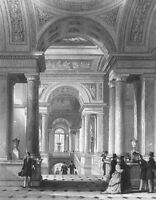 Paris, LOUVRE ART GALLERY MUSEUM ~ 1865 Gothic Architecture Art Print Engraving