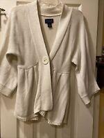 Ashley Judd Women's Size Medium M Sweater Cardigan Cream Color