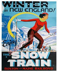 Vintage Boston Maine Railway Ski Print Travel Poster Color 8 X 10 REPRINT Photo