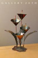 WOW! MID CENTURY FLOWER SCULPTURE! BRUTALIST METAL BRONZE 50S 60S VTG MODERN ART