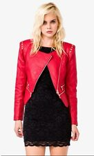 Forever 21 Pyramid Studs Red Chic Quilted Bomber Jacket-S Brand New With Tag