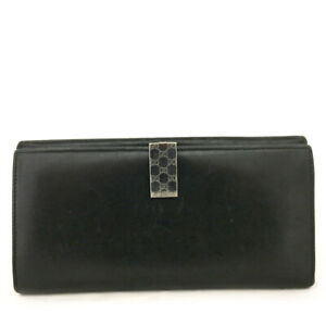 GUCCI Black Leather Long Bifold Wallet /E0802