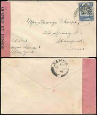 KUT TANGANYIKA MOSHI 1941 CIVIL CENSOR to STAMFORD USA...PINK TAPE PC12...TANGA