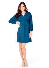 Ingrid & Isabel Maternity Effortless Long Sleeve Teal Blue Dolman Dress S 4/6
