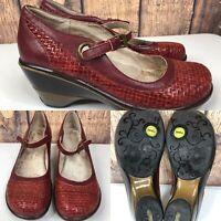 Womens JAMBU 'Seoul' Brick Red Woven Leather Wedge Mary Jane Pump Shoes SIZE 9 M