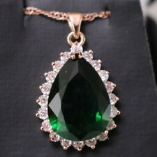 """6 Ct Emerald Green Teardrop Large Pendant Necklace 14k Gold Plated Chain 18"""""""