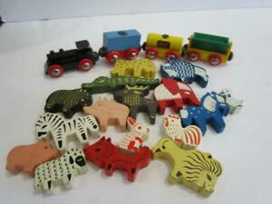 Vintage BRIO Wooden Train Animal  Blocks Figure Toy Lot