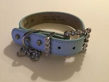 Studded Rhinestones Metal Dog PU Faux Leather Collar Medium Light Blue