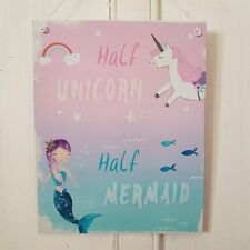 HALF MERMAID HALF UNICORN PINK AND BLUE GLITTERY METAL SIGN