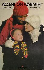 Coats Clark 278 Accent on Warmth Knit Crochet Patterns Hat Scarf Mittens 1979