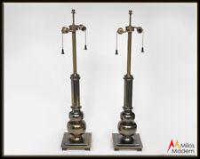 Vintage Pair of Elegant Brass Stiffel Lamps - Tall w/ Square Base 2 Sockets