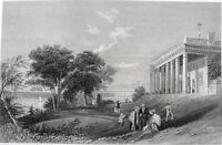 GEORGE WASHINGTON HOUSE MOUNT VERNON PALLADIAN MANSION, 1846 Art Print Engraving