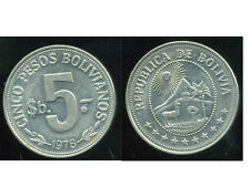 BOLIVIE   5  pesos 1978