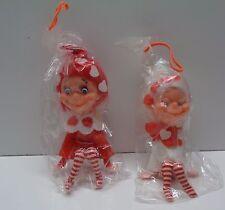 2 Vintage Made Japan Red White Knee Hugger Elf Elves VALENTINES DAY Sealed Pkgs