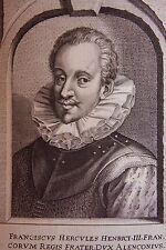 PETR. DE Iode. Portrait de Franciscus Hercules Henrici III.  Anvers 1650. Dimens
