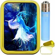 UNICORN. 2 oz GOLD TOBACCO TIN WITH LIGHTER