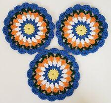 Dishcloth Mandala Set of 3 Handmade Crocheted Facecloth Washcloth Cotton Round